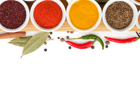 chilli: Various spices selection. Isolated on white background Stock Photo