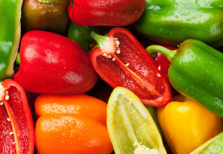 capsicums: Fresh colorful bell peppers closeup