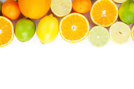 citrus: Citrus fruits. Oranges, limes and lemons. Isolated on white background with copy space