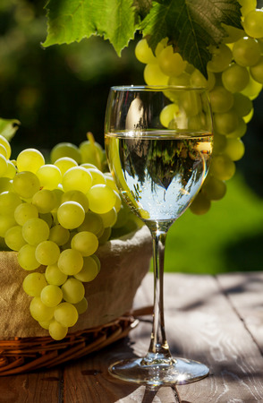glass table: White wine, vine and bunch of grapes on garden table