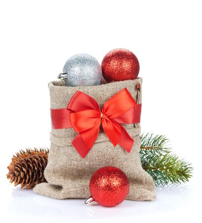 christmas decor: Christmas decor bag. Isolated on white background