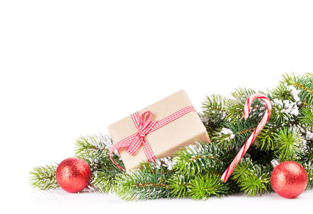 snow and trees: Christmas tree branch with snow and gift box. Isolated on white background with copy space