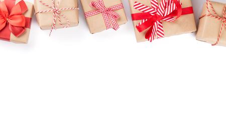 in christmas box: Christmas gift boxes. Isolated on white background with copy space Stock Photo