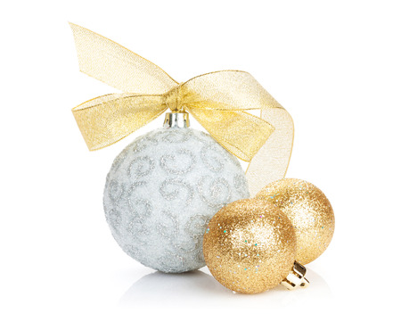 gold silver: Christmas baubles and golden ribbon. Isolated on white background