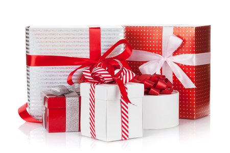 gift boxes: Christmas gift boxes. Isolated on white background