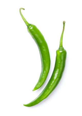 Green chili peppers. Isolated on white background Stock Photo