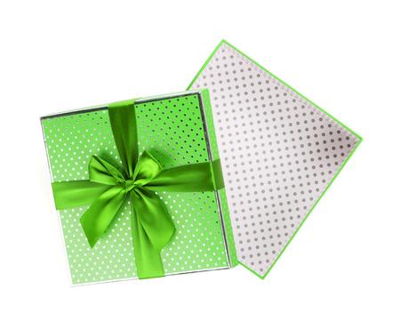 white bow: Gift box open. Isolated on white background