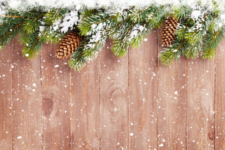 snow and trees: Christmas wooden background with snow fir tree. View with copy space