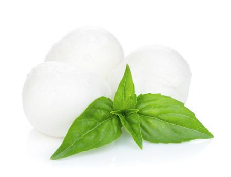Mozzarella cheese with basil. Isolated on white background