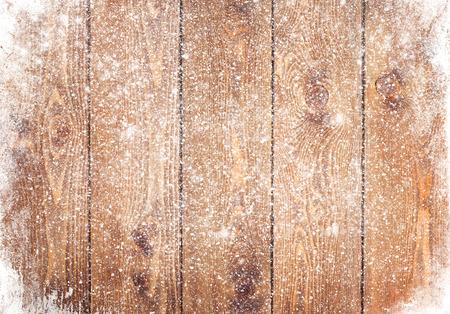 Oude houten textuur met sneeuw kerst achtergrond