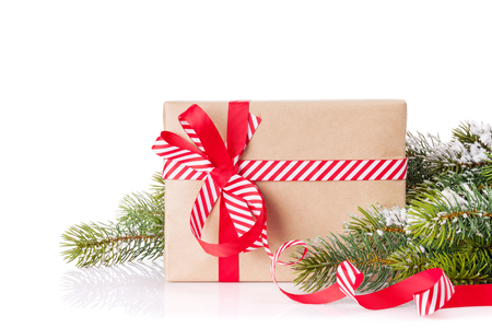 Christmas tree branch with snow and gift box. Isolated on white background
