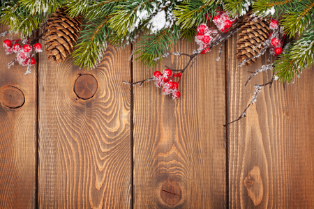 antique background: Christmas wooden background with snow fir tree and holly berry