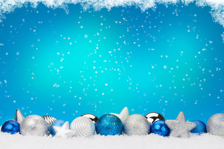 silver background: Christmas background with baubles and copy space