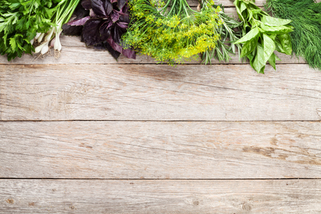 plant food: Fresh garden herbs on wooden table. Top view with copy space