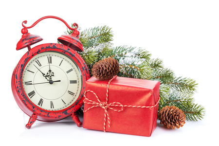 christmas gift box: Christmas clock, gift box and snow fir tree. Isolated on white background