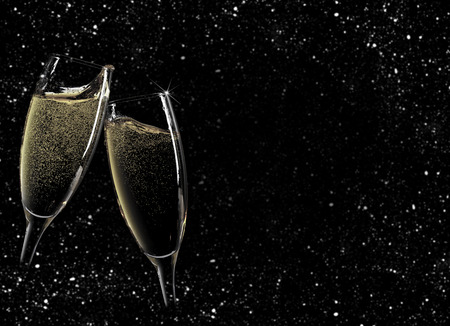 black backgrounds: Cheers! Two champagne glasses over night background with snow Stock Photo