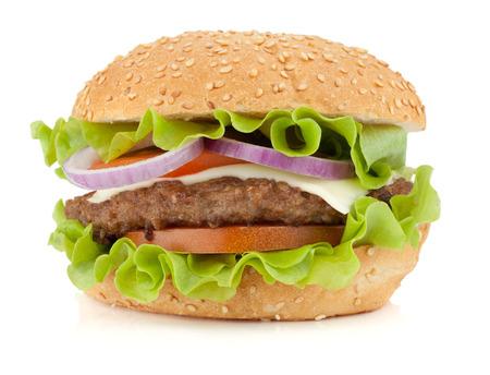 新鮮なハンバーガー。白い背景に分離