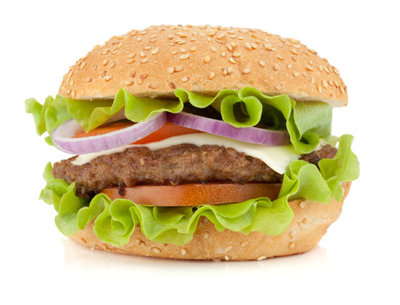 Verse hamburger. Geïsoleerd op witte achtergrond Stockfoto