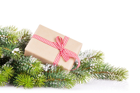 christmas isolated: Christmas tree branch with snow and gift box. Isolated on white background with copy space