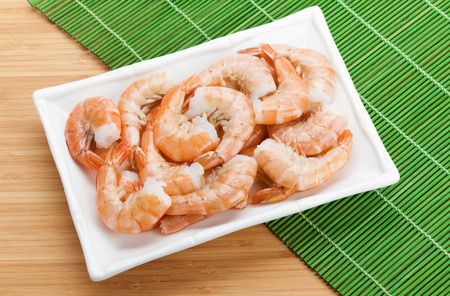 cooked: Cooked shrimps. View from above on wooden table