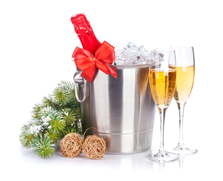 Christmas champagne and snow fir tree. Isolated on white background Stock Photo