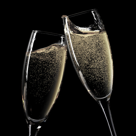 champagne glasses: Two champagne glasses. Isolated on black background