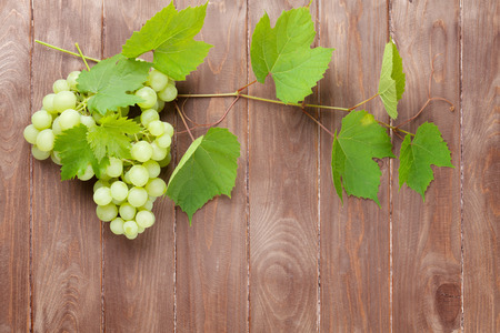 white grapes: Bunch of grapes and vine on wooden table background with copy space Stock Photo