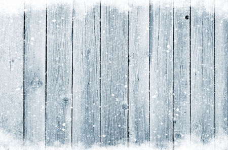 Christmas wooden background with snow Banco de Imagens - 47982112