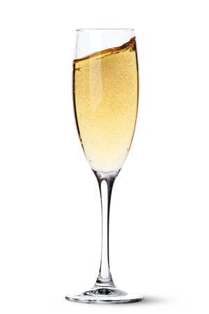 gold flute: Champagne glass with splash. Isolated on white background