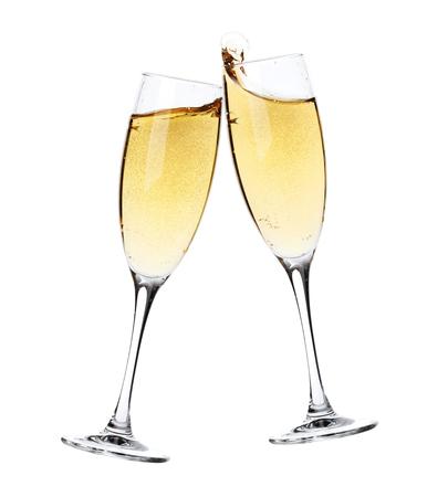 saúde: Saúde! Dois vidros do champanhe. Isolado no fundo branco
