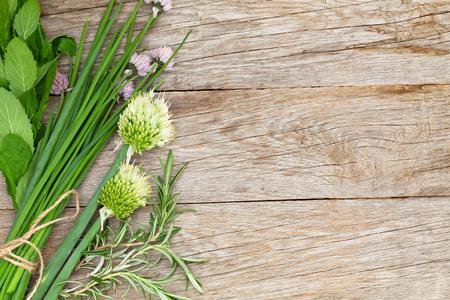 Les herbes fraîches et d'épices sur la table de jardin. Vue de dessus avec copie espace Banque d'images