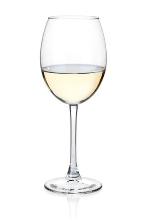 White wine glass. Isolated on white Archivio Fotografico