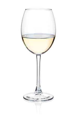White wine glass. Isolated on white Imagens