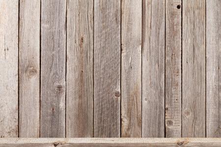 étagère en bois en face de mur en bois. Voir avec copie espace Banque d'images