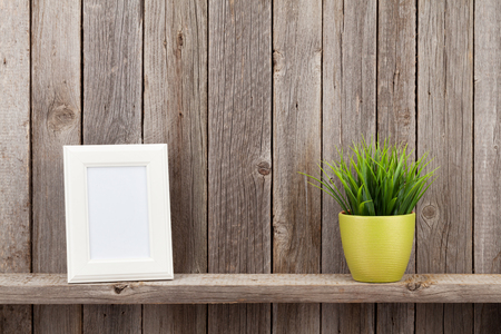 frame wall: Blank photo frame and plant on shelf in front of wooden wall
