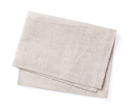 linen fabric: Kitchen towel. Isolated on white background