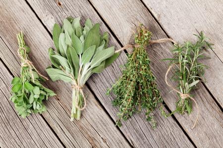 hierbas: hierbas arom�ticas frescas en la mesa de madera. Or�gano, tomillo, salvia, romero. Vista superior