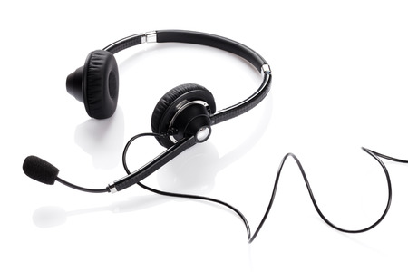 Helpdesk headset. Isolated on white background Archivio Fotografico
