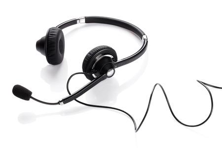 Zestaw słuchawkowy helpdesk. Pojedynczo na białym tle
