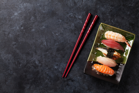 Set of sushi on stone table. Top view with copy space Stock Photo