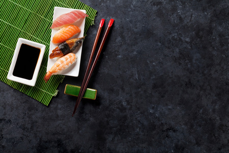 sushi menu: Set of sushi on stone table. Top view with copy space Stock Photo