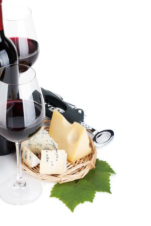 wine background: Red wine and cheese. Closeup. Isolated on white background Stock Photo