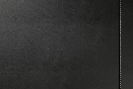 Black leather texture background with seam