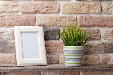 shelf: Blank photo frame and plant on shelf in front of brick wall