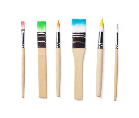 brush painting: Colorful paint brushes. Isolated on white background
