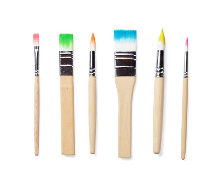 Colorful paint brushes. Isolated on white background