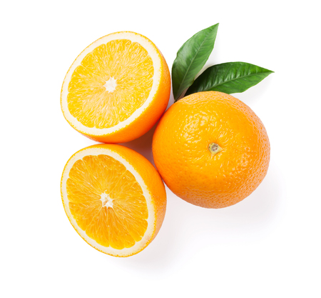 Fresh ripe oranges. Isolated on white background. Top view