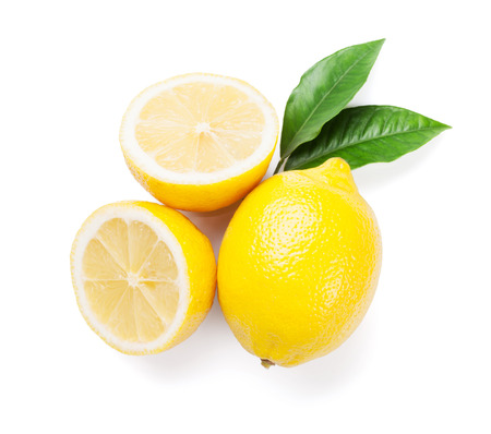 Fresh ripe lemons. Isolated on white background. Top view