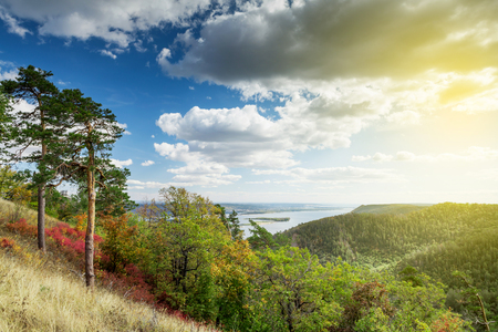 russian: Russian national park countryside landscape with mountains and river Stock Photo