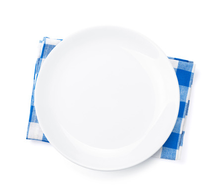 dishtowel: Empty plate over kitchen towel. Top view. Isolated on white background
